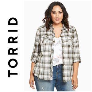TORRID   Green Plaid Camp Shirt